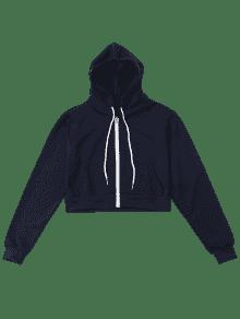 2019 Front Pockets Cropped Zip Up Hoodie In Deep Blue M Zaful