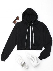 e2c66d51cead5 25% OFF  2019 Front Pockets Cropped Zip Up Hoodie In BLACK