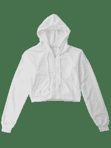 2019 Front Pockets Cropped Zip Up Hoodie In White M Zaful