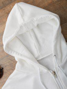 db9a5e93477a 24% OFF] 2019 Front Pockets Cropped Zip Up Hoodie In WHITE | ZAFUL