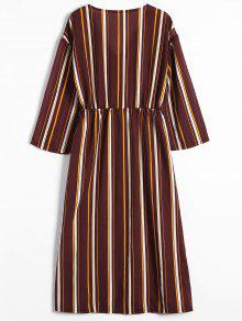 Raya De 243;n Stripes S Dress Hasta Larga Bot Maxi Manga q1BawCaU8