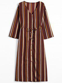 243;n Manga S Larga Raya Bot Dress Stripes Maxi De Hasta d4qWv7WFH