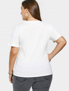 Lentejuelas Cuentas Parches Estampado 4xl De De Blanco Camiseta Con Con qTRxS