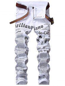 جينز طباعة بسحاب - أبيض 32