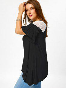 e8a53870f60e0 29% OFF  2019 Plus Size Criss Cross Drop Shoulder Tunic T-Shirt In ...
