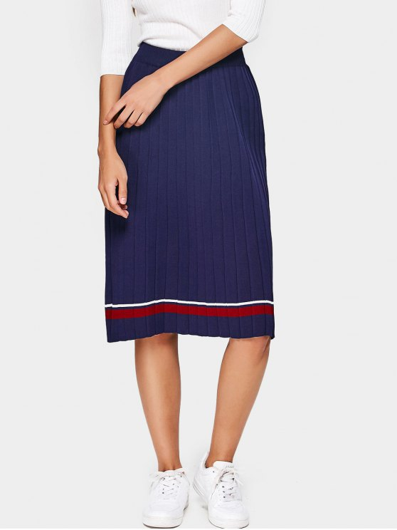 0f698580f Falda plisada de punto a rayas de cintura alta