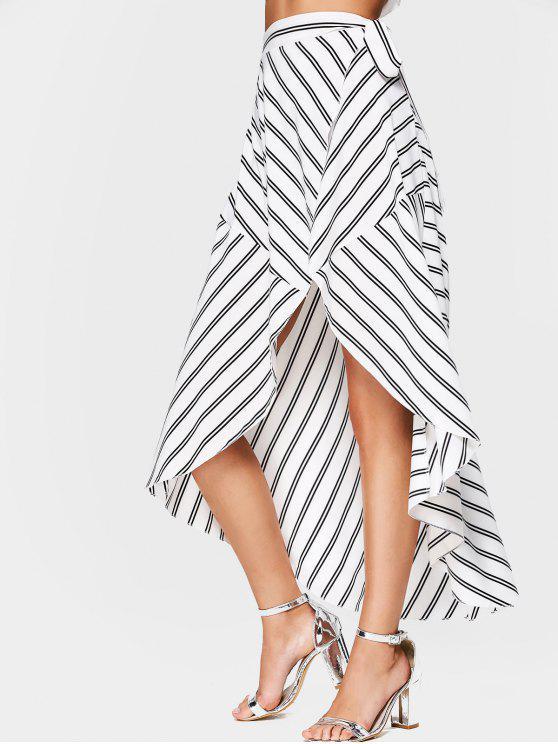 Falda asimétrica de la cintura alta de la cintura rayada - Blanco L