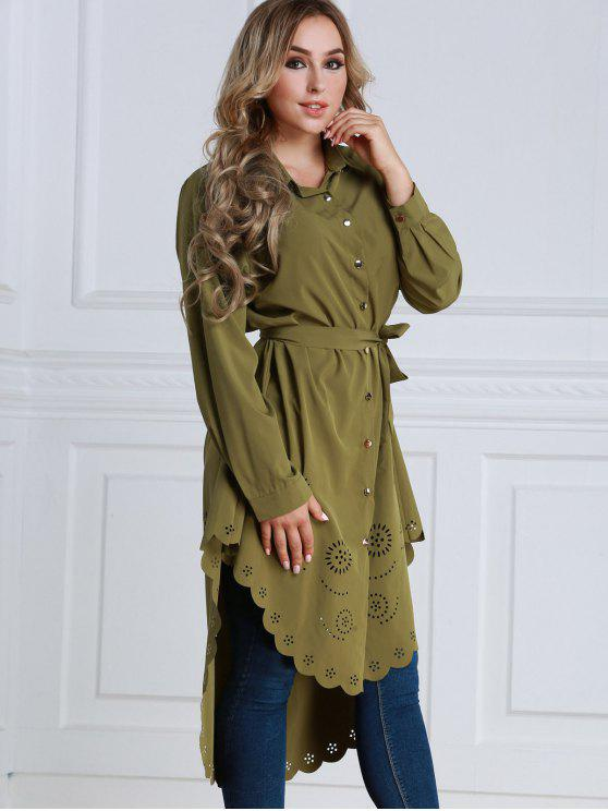 trendy Sheer Longline High Low Shirt - ARMY GREEN S
