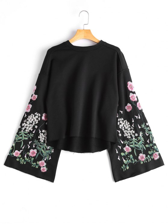 online Flare Sleeve Floral Embroidered Sweatshirt - BLACK M