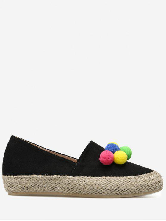 Espadrilles Pompon Ronda Toe plana zapatos - Negro 38