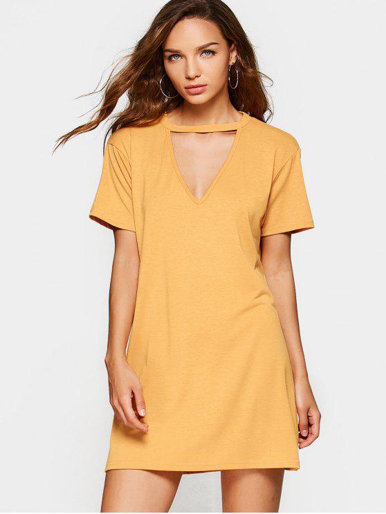 فستان ثقب المفتاح الرقبة مستقيم مصغر - زنجبيل L