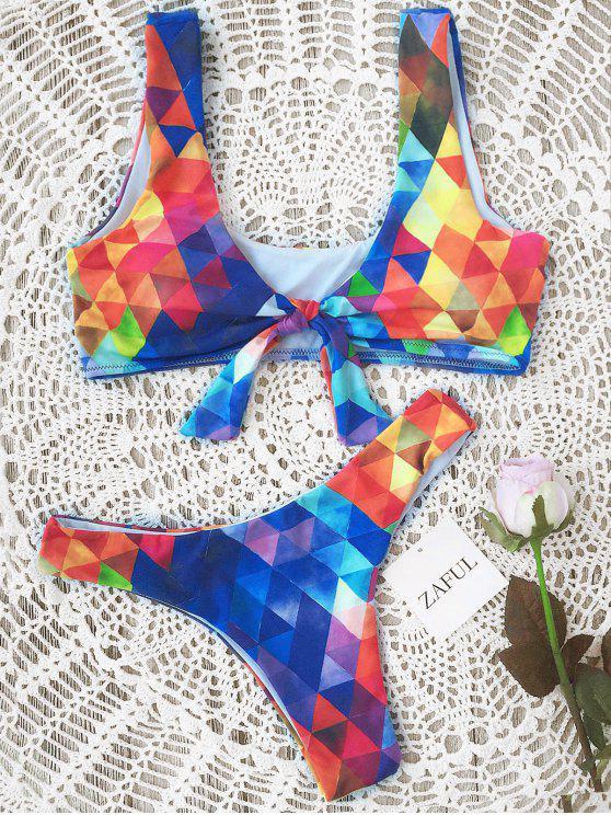 Ensemble Bikini Paddé Noué à Motif Losangé - Bleu M