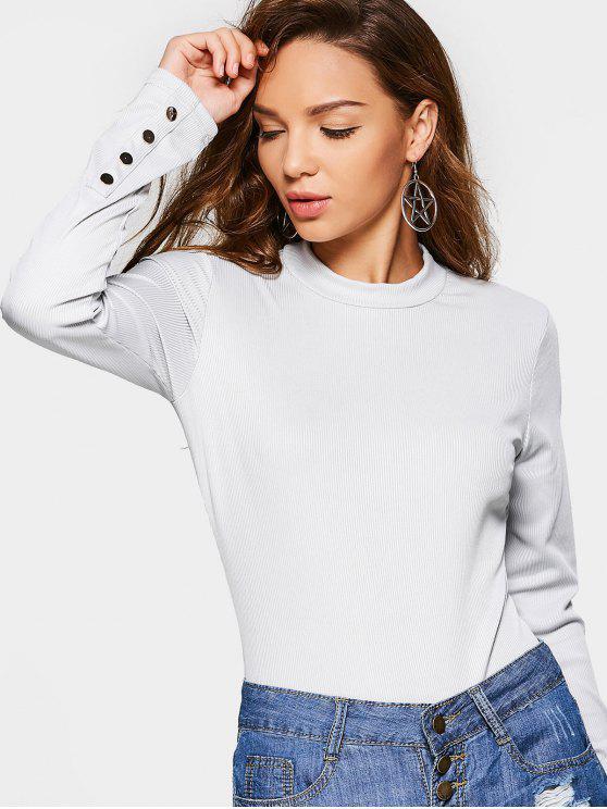 womens High Neck Long Sleeve Bodysuit - LIGHT GRAY L
