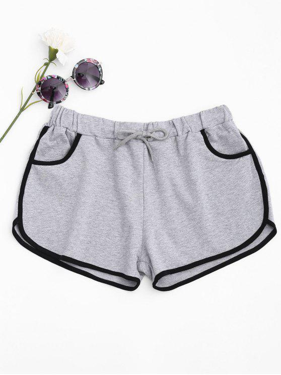 665b123622 23% OFF] 2019 Contrast Trim Dolphin Shorts In LIGHT GRAY | ZAFUL