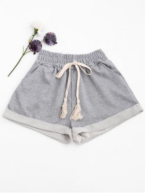 outfits Cuffed Sweat Shorts - LIGHT GRAY M