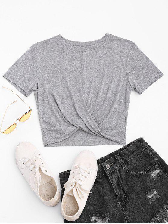 Twist Cropped T-shirt - Gris Clair M