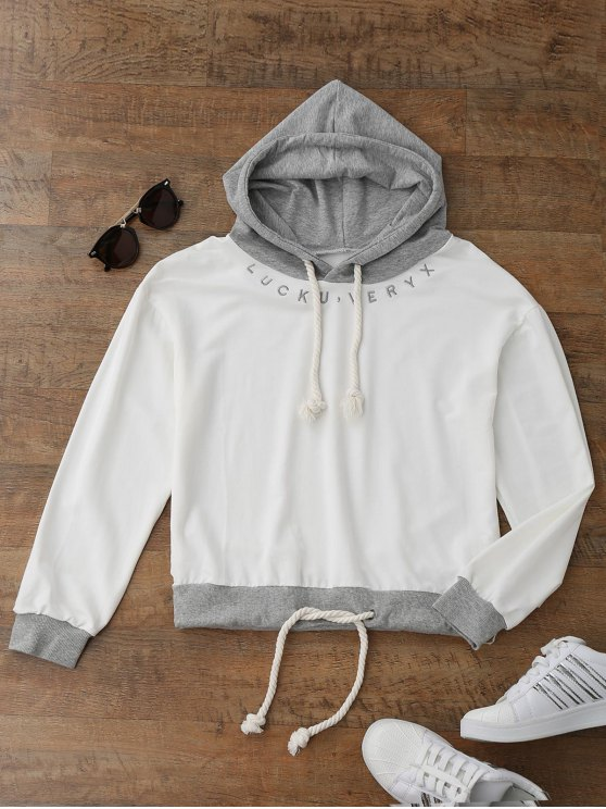 outfit Embroidered Drawstring Hoodie - WHITE ONE SIZE
