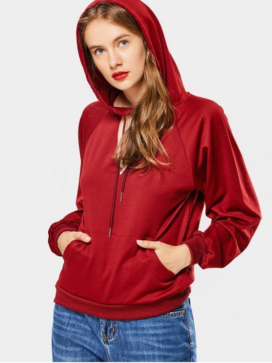 lady Loose Cut Out Choker Hoodie - WINE RED ONE SIZE