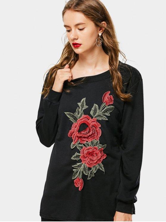 Sweat-shirt Brodé Floral Décontracté Lâche - Noir XL
