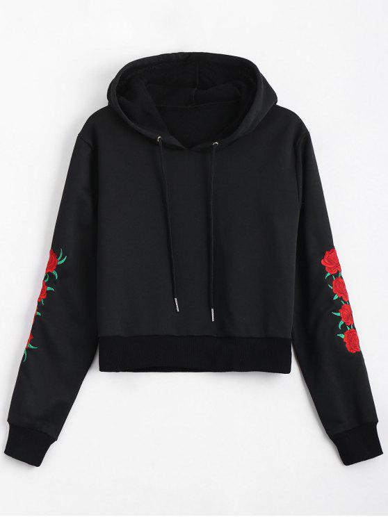 hot Floral Patched Drawstring Hoodie - BLACK L