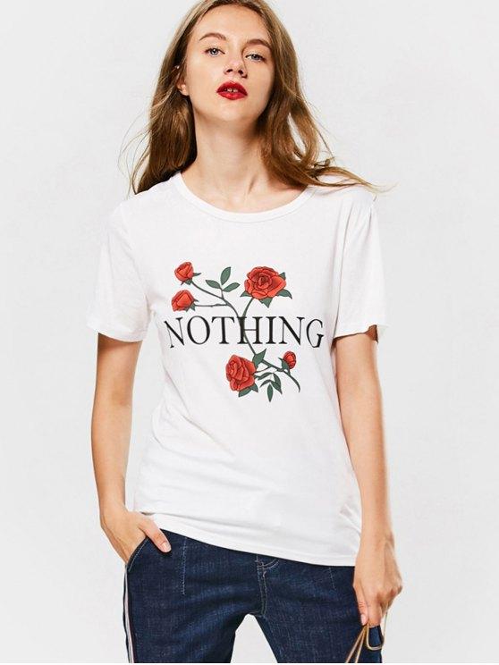 تي شيرت قطني طباعة الوردة - أبيض M