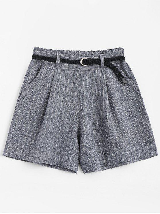 Pantalones cortos de cintura alta con cinturón - Gris Única Talla