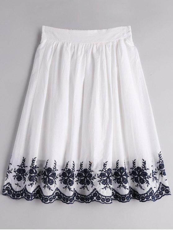 تنورة مطرزة بالأزهار بخط A - أبيض XL