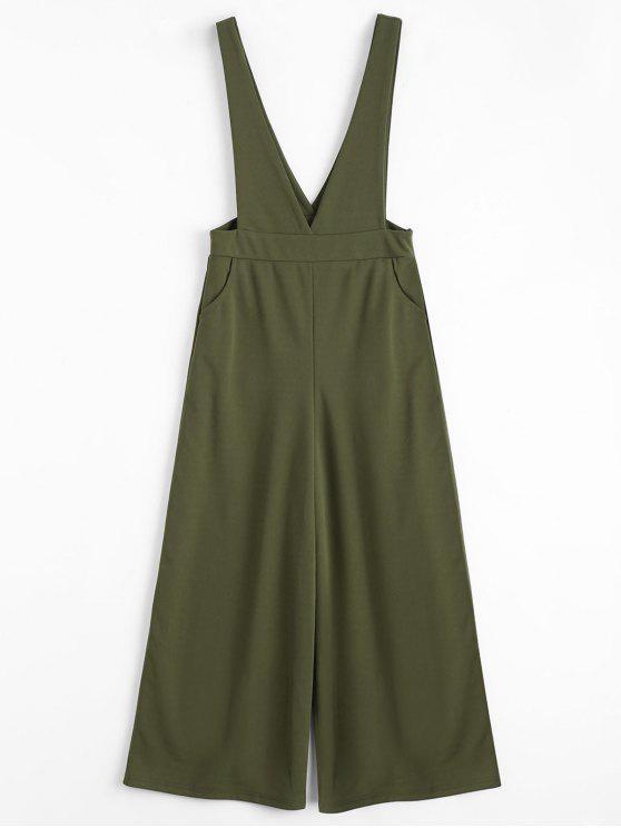 womens Plunge Suspender Wide Leg Jumpsuit - ARMY GREEN L