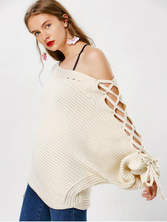 outfit Skew Neck Lace Up Sweater - OFF-WHITE ONE SIZE