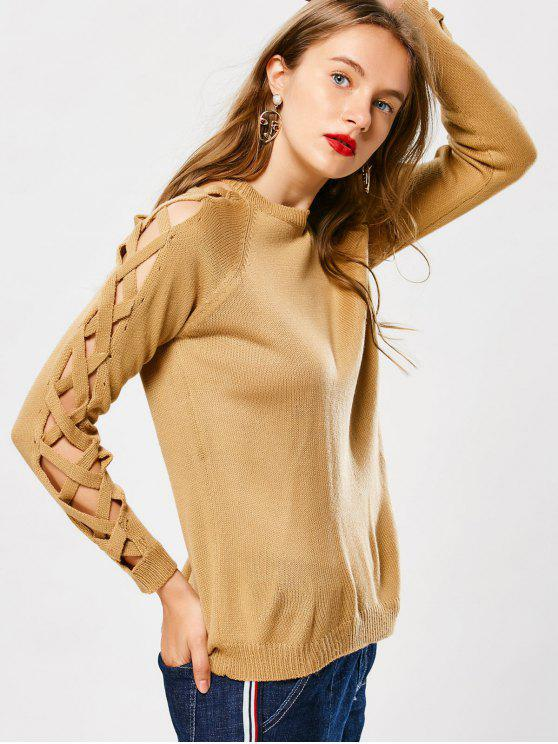 shop Pullover Strappy Sleeve Sweater - EARTHY ONE SIZE