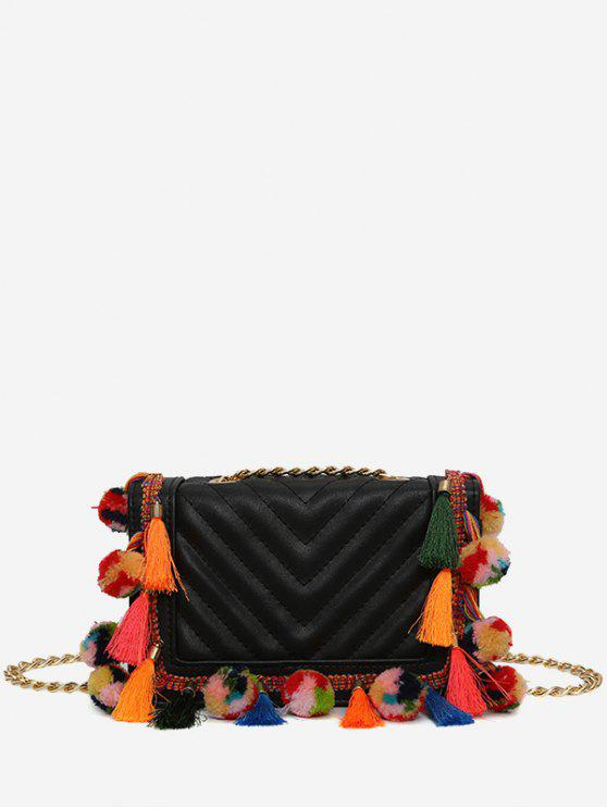 affordable Tassels Stitching Chain Crossbody Bag - BLACK