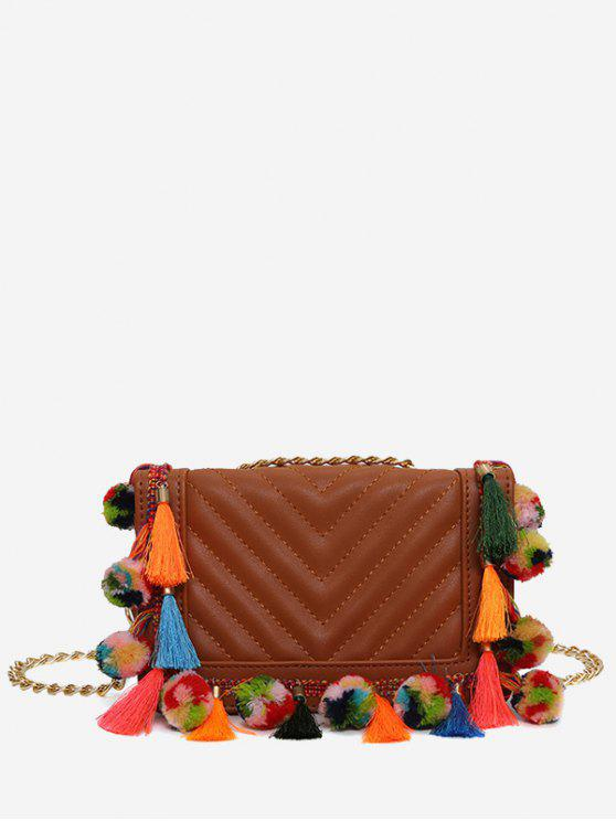 Tassels Stitching Chain Crossbody Bag - Castanha