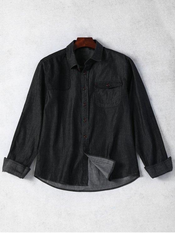 affordable Pocket Single Breasted Denim Shirt - BLACK L