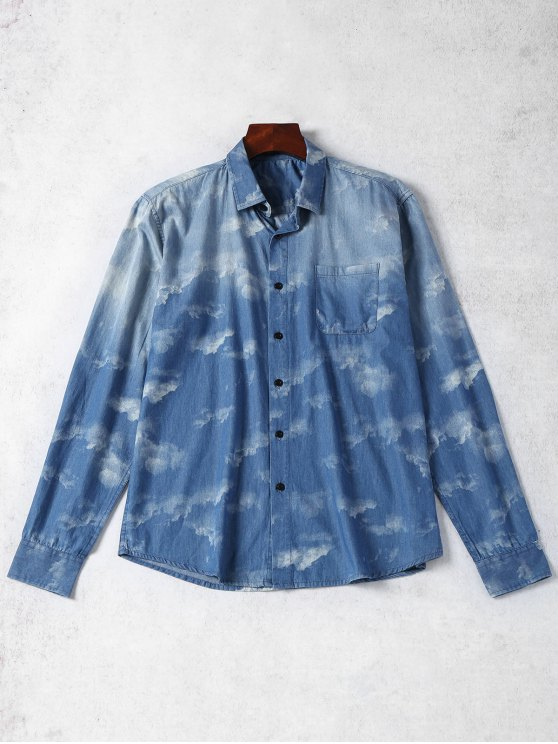 women's Pocket Tie Dyed Denim Shirt - BLUE XL