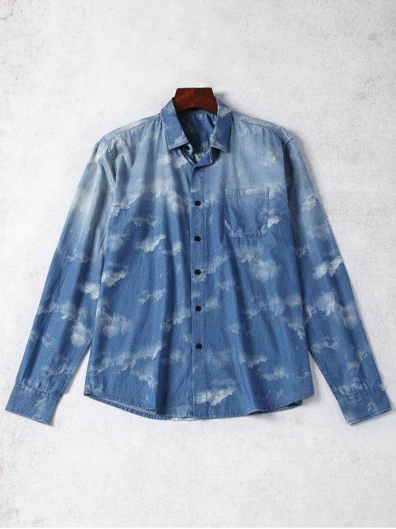 Camisa de denim tingida com gravata de bolso - Azul S