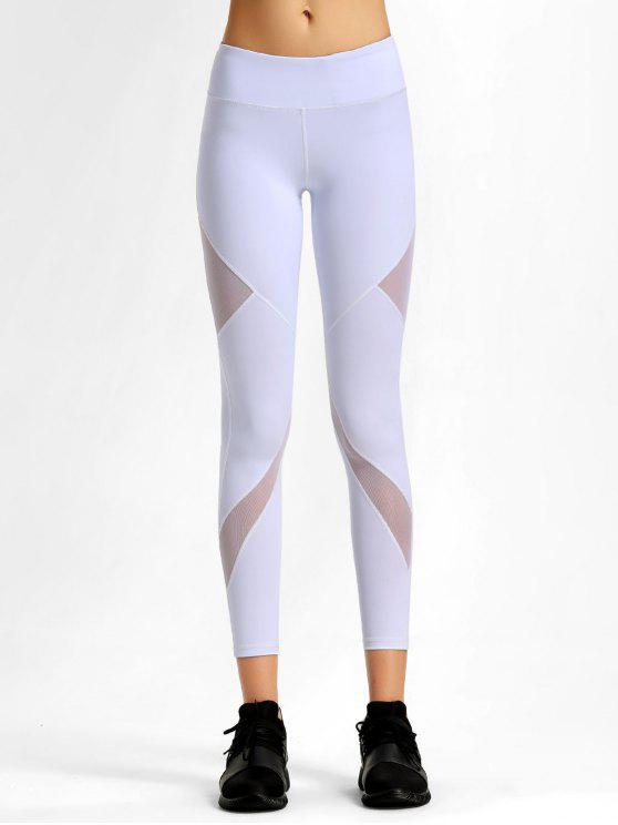 shop Mesh Stretchy Workout Leggings - WHITE S