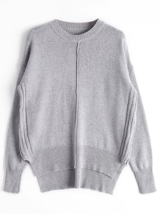 shop Loose Side Zip High Low Sweater - GRAY ONE SIZE