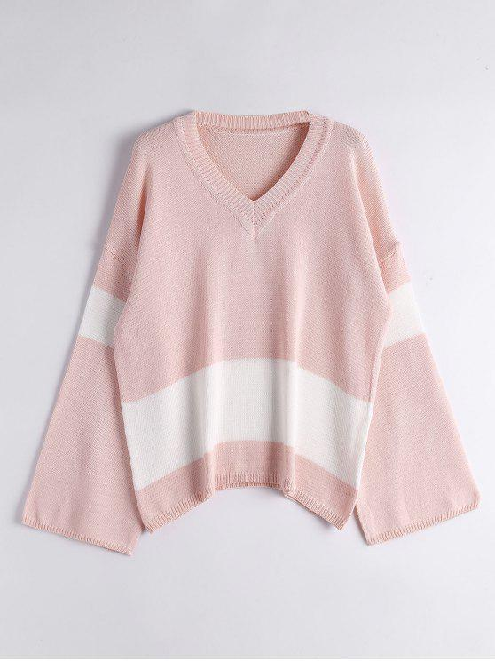 shops Flare Sleeve Two Tone Sweater - PINK ONE SIZE