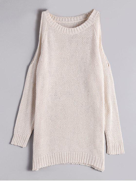 trendy Loose Long Cold Shoulder Sweater - OFF-WHITE ONE SIZE