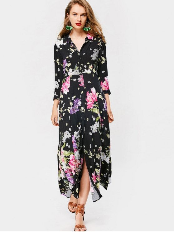 affordable Button Up Long Sleeve Floral Maxi Dress - FLORAL M