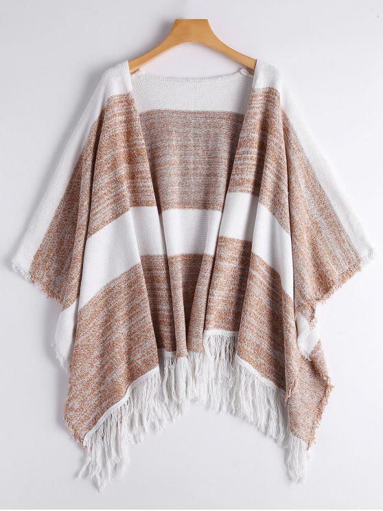 womens Two Tone Cape Tassels Open Front Cardigan - STRIPE ONE SIZE