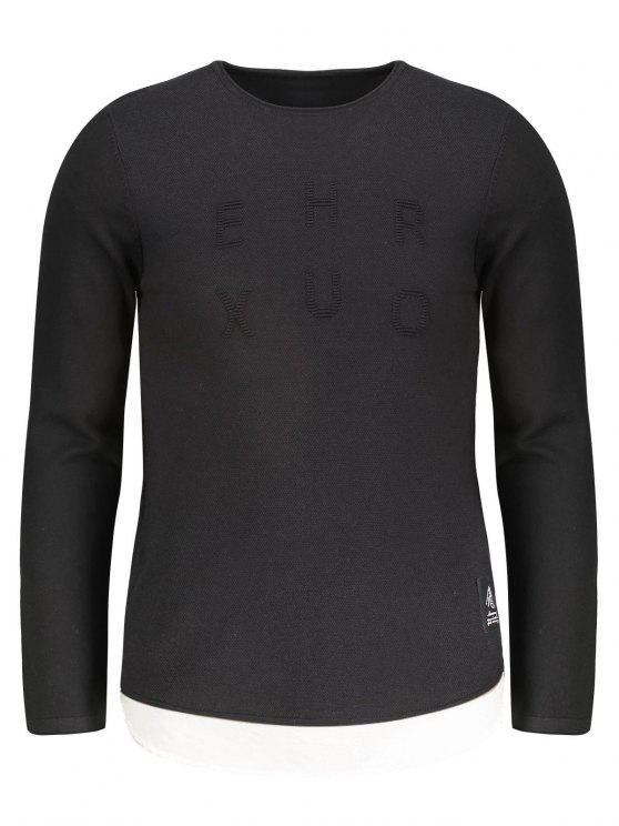 unique Contrast Trim Mens Sweater - BLACK 2XL