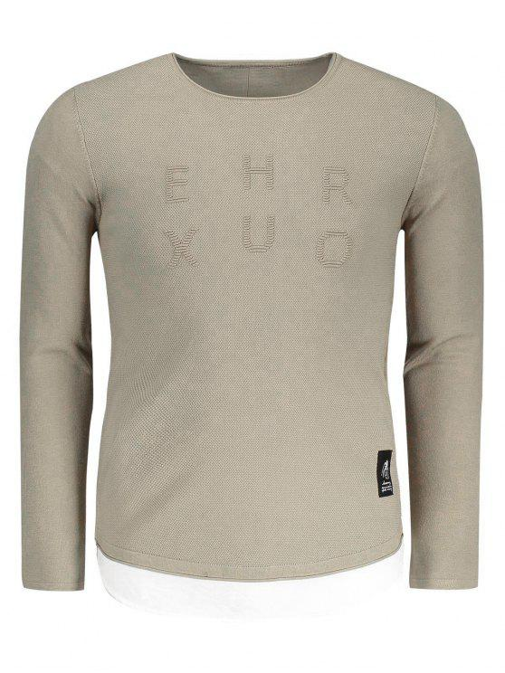 affordable Contrast Trim Mens Sweater - KHAKI 2XL