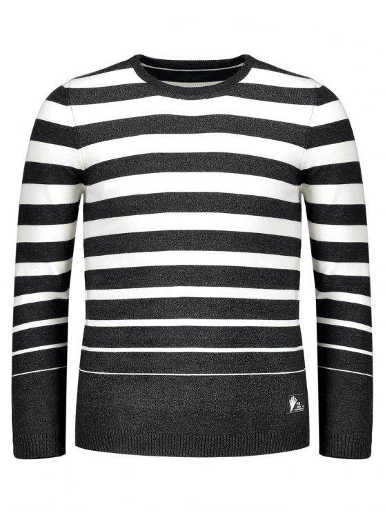 womens Crew Collar Stripe Sweater - BLACK 2XL