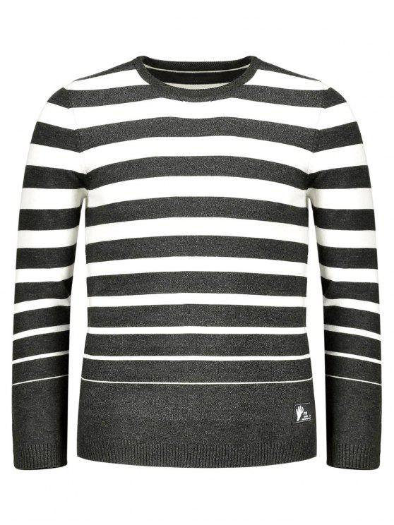 women's Crew Collar Stripe Sweater - COFFEE 2XL