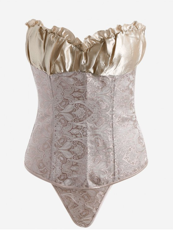 womens Jacquard Lace-up Strapless Bra Corset - CHAMPAGNE GOLD S