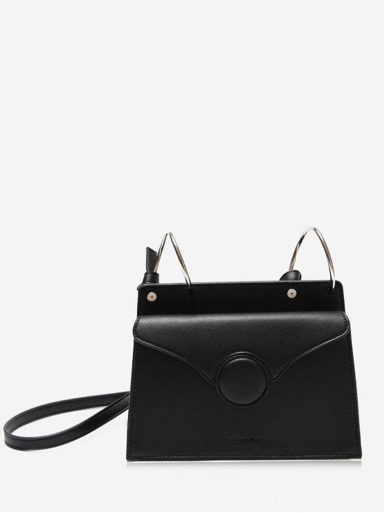 Faux Leather Metal Rings Crossbody Bag - Black