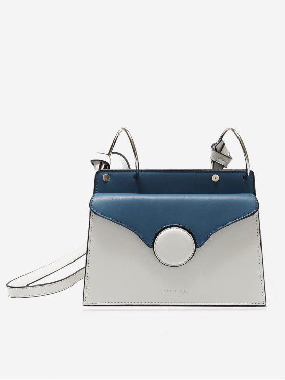 Faux Leather Metal Rings Crossbody Bag - Branco