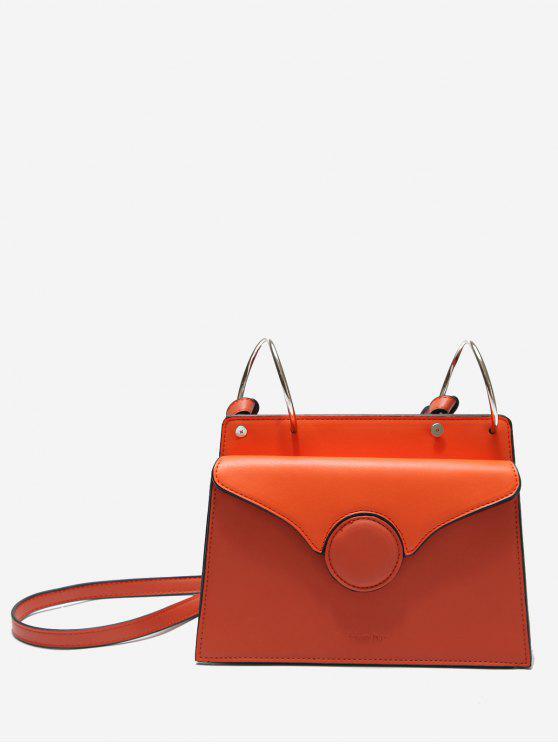 lady Faux Leather Metal Rings Crossbody Bag - ORANGE