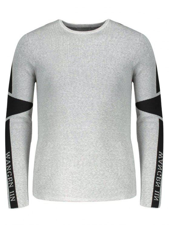 affordable Two Tone Sweater - GRAY 2XL